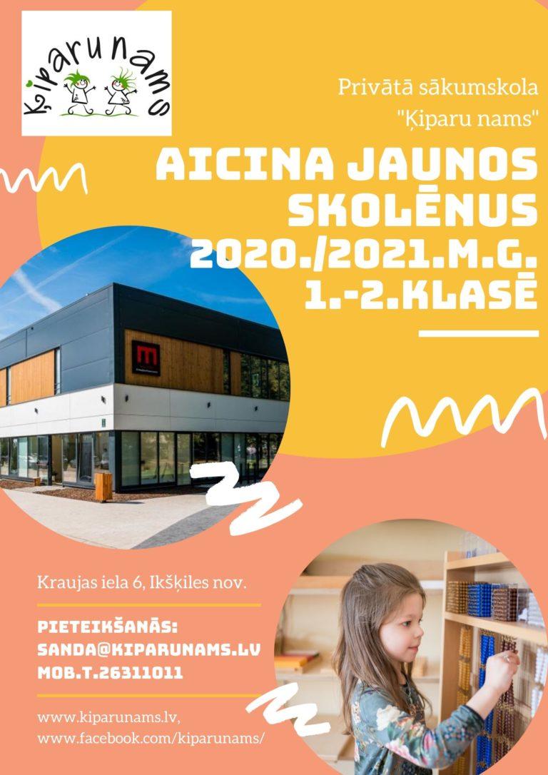 Aicinām jaunos skolēnus 2020./2021.māc.g. 1.-2. klasē!